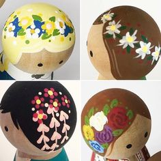 Flowered hairstyles for peg dolls- not sure what's actually at the link. Day 4 - Favorite to Make Any request that allows me to add flower crowns to someone's peg head. Wood Peg Dolls, Clothespin Dolls, Wooden Pegs, Kokeshi Dolls, Little Doll, Fairy Dolls, Doll Crafts, Flower Crowns, Doll Patterns