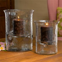 Rippled Glass Hurricanes    Handblown glass hurricanes with a beautiful ripple texture. Each includes a glass candle plate.