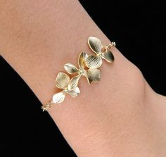 Gold Orchid Bracelet, ADJUSTABLE Gold Bracelet, Bridesmaid Gifts, Wedding Jewelry, Elegant Jewelry, Flower Girl Jewelry, Sister Jewelry