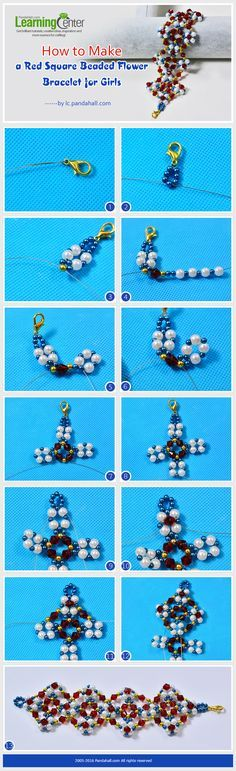 Tutorial on How to Make a Red Square Beaded Flower Bracelet for Girls from LC.Pandahall.com                        #pandahall