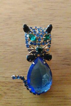 Vintage Alice Caviness Kitty Cat Figural Rhinestone Brooch Blue Green | eBay