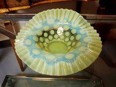 Vintage Vaseline Glass Bowl Coin Dot Optic by vintagesouthwest