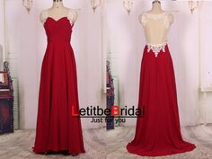 2015 New Ball Gown Cheap Sweetheart Sheer Back Burgundy Wine Red Chiffon Lace Prom Dress Gown Long/Formal Dress/Evening Dress/Party Dress by LetitbeBridal on Etsy