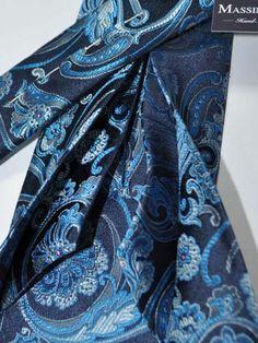pure silk Battisti Pocket Square  Royal blue with red pepper