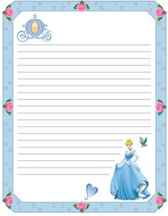 PRINCESS cinderella disney scrapbook journal pages Printable Lined Paper, Free Printable Stationery, Disney Writing, Scrapbook Da Disney, Disneyland Princess, Princess Coloring Pages, Cinderella Birthday, Cinderella Disney, Disney Printables