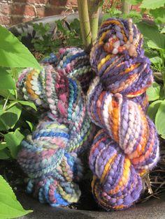 Hand-dyed and hand spun yarns