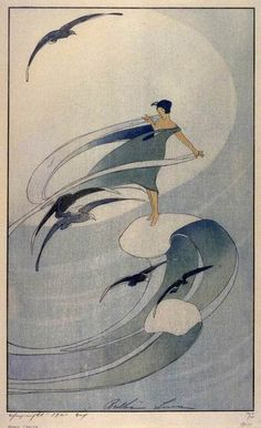 """Wind Sprite"" by Bertha Lum. Woodblock print. Looks like Japanese style."