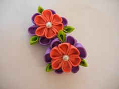kanzashi flower, set of kanzashi hair clip, flower, hair accesories by CarmelasDesigns on Etsy