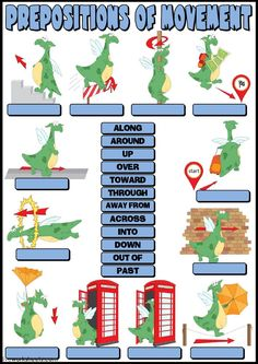 Prepositions of movement English as a Second Language (ESL) worksheet. You can do the exercises online or download the worksheet as pdf.