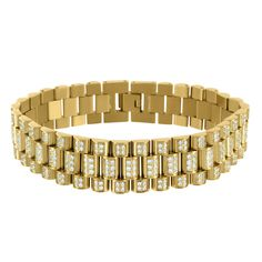 Mens 14k Yellow Gold On Stainless Steel Bracelet Presidential Link Lab Diamond