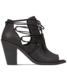 8e3ee3efaabd Jessica Simpson Ceri Tassel-Tie Peep-Toe Booties Shoes - Boots - Macy s