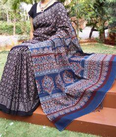 Elegant Cotton Saree With Kutch Ajrakh Block Printing