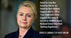 PP:Hillary Clinton voted for the Iraq War; Voted for the Patriot Act; Voted for Bank Bailouts; Supports NAFTA, TPP & Free Trade w/China; Supports Keystone XL; Served on WalMart Board; Husband gutted New Deal Banking Regulations  **& YES to GMO's!!! Why would anyone support Clinton for president? Vote Bernie Sanders 2016! #bernie2016 #women4bernie #FeeltheBERN