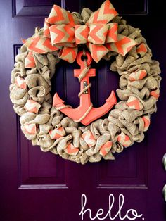 Anchor's Away in Coral Nautical Burlap Wreath Burlap Crafts, Wreath Crafts, Diy Wreath, Wreath Ideas, Wreath Making, Crafts To Do, Arts And Crafts, Diy Crafts, Deco Mesh Wreaths