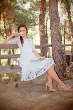Ivory 50s Wedding Dress Lace Bridal Dress Short by SuzannaMDesigns