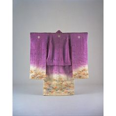 Furisode (Long-Sleeved Kimono) with Bamboo, Plum Blossoms, and Flowing Water on Parti-colored Ground, Taisho Period, 20th c, Kyoto National Museum