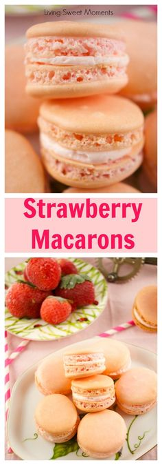 Delicious strawberry macarons recipe that is easy to make and kid friendly. The perfect crunchy cookie filled with strawberry buttercream. My fave french dessert that is gluten free and tasty! More on livingsweetmoments.com