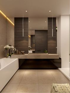 Image via  Ideas for Small Modern Bathrooms | Home Art, Design, Ideas and Photos RepoStudio.org - led ugh ting around mirror cabinet   Image via  bathroom - lovely, but nightmare to clean tha