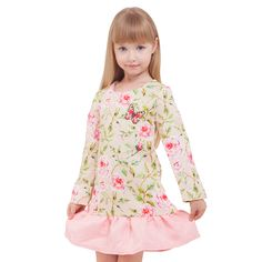 Girl's Sweet Floral Ruffled Long-Sleeve Dress #kidsfashion #kidswear #childrenswear #girlsfashion #girlsdresses