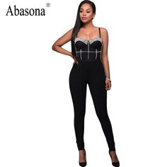 Abasona Rivet strapless backless sexy bodycon jumpsuit black romper One piece straps nightclub rompers womens bandage jumpsuit