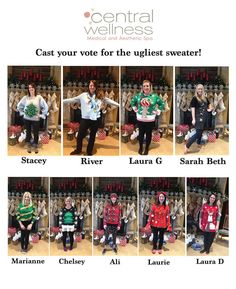 The lovely ladies of Central Wellness got their ugliest sweaters out for our holiday party! VOTE for your favorite ugly sweater and help a CW gal get a prize!!! #VOTE #rockthevote #uglysweater