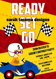 RACE CAR Birthday Party Invitation.