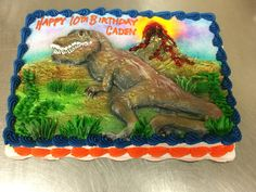Dinosaur cake in buttercream and airbrushed by Laurie Grissom Dinosaur Cake, Cupcake Cakes, Decorating, Birthday, Happy, Decoration, Birthdays, Cupcake, Dekorasyon