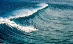 Australian stunt rider Robbie 'Maddo' Maddison has surfed his motorbike on the pristine wa...