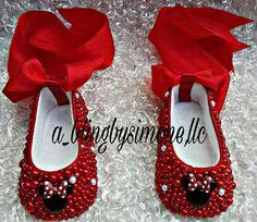 Zapatillas de bailarina infantil de Minnie Mouse strassed