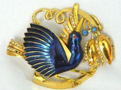 Vintage CORO Large Jeweled Enameled Bird Brooch Pin