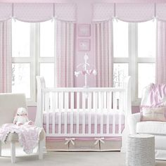 Pink and White Damask Pattern Themed Baby Girls 4pc Nursery Crib Bedding Set #CrownCrafts