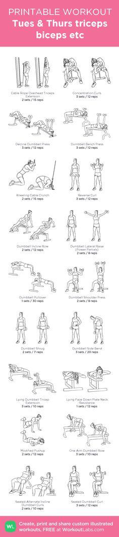 Tues & Thurs triceps biceps etc: my custom printable workout by @WorkoutLabs #workoutlabs #customworkout