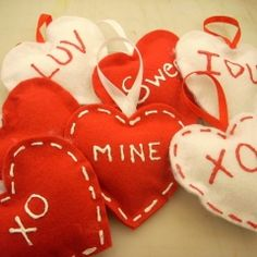 Valentine wreath, pillow, card, ornaments for tree