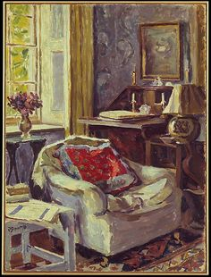 'Artist's Study at Charleston' by British painter Duncan Grant, Charleston, in East Sussex, was the home of Vanessa Bell and Duncan Grant. It became a meeting place for the writers, painters and intellectuals known as the Bloomsbury Group. Duncan Grant, Duncan James, Vanessa Bell, Art And Illustration, Art Moderne, Paintings I Love, Cool Ideas, Oeuvre D'art, Painting Techniques