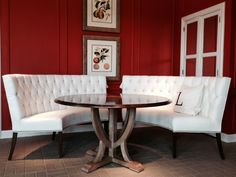 I'm crazy for a curved banquette, and this pair from Lorts Furniture creates elegant seating for a crowd!  The dining table is another new introduction and is available in standard and custom sizes.  Pay attention to the mixed finishes!  It's a simple way to add another layer of interest to a space.  Lorts Furniture, 242 N. Hamilton #hpmkt