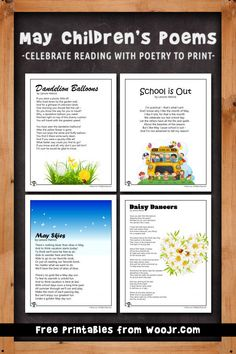 6 printable and fun children's poems for the month of May. Teacher Worksheets, Teacher Resources, Teaching Ideas, May Poems, Classroom Activities, Activities For Kids, Kids Poems, Lesson Plans, Tea Time