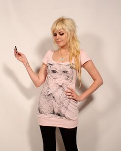 Pink Pretty Kitty Dress- Prettysnake and Imyourpresent collab. $58.00, via Etsy.