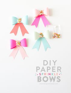 DIY Sprinkle Paper Bows Tutorial with Templates  #DIY #craft #create