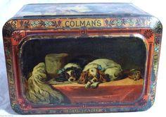 SUPERB LARGE ANTIQUE COLMANS SHOP MUSTARD TIN C1905 DOG BREEDS SPANIEL PIT BULL in  | eBay!