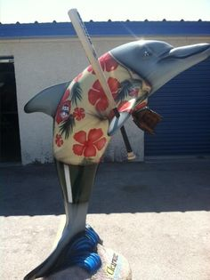 """""""Bomber"""" dolphin, sponsored by City of Clearwater, may be seen at Eddie C. Moore Complex, 3050 Drew Street, Clearwater."""
