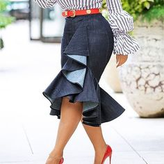 Vintage High Waist Jeans Skirt Midi Autumn Office Ladies Women Ruffle Bodycon Irregular Mermaid Denim Plus Size African Skirt Modest Fashion, Skirt Fashion, Fashion Outfits, Apostolic Fashion, Modest Clothing, High Waist Jeans, High Waisted Skirt, Waist Skirt, Mermaid Skirt