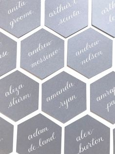 Hexagon place cards- gray- calligraphy- wedding table seating card- bridal- table assignment and meal choice-escort card- rehearsal dinner Wedding Seating Display, Table Seating Cards, Bridal Table, Wedding Activities, Wedding Welcome Bags, Winter Wedding Inspiration, Shower Baby, Bridal Shower, Wedding Calligraphy