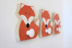 This eco-friendly fox wall hook will add fun and function to a childs room or a touch of handcrafted fun to a home. **Each fox wall hook sold separately**. DIMENSIONS: EACH FOX: 4 1/2 x 5 x 2 WOOD: Sustainably harvested poplar wood is handcut to shape and sanded smooth. PAINT: