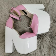 Pink White Patent High Heel Wedges Source by rashandra_walke Patent High Heels, Platform High Heels, Best Shoe Rack, Ballet Heels, Funky Shoes, Super High Heels, Unique Shoes, Sexy Heels, Girls Shoes