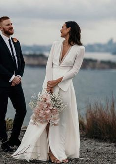 Simple, yet elegant tailored wedding dress.S🌹 Simple, yet elegant tailored wedding dress. Tailored Wedding Dress, Wedding Dress Sleeves, Elegant Wedding Dress, A Line Bridal Gowns, Bridal Dresses, Wedding Gowns, Lace Wedding, Minimalist Dresses, Colored Wedding Dresses