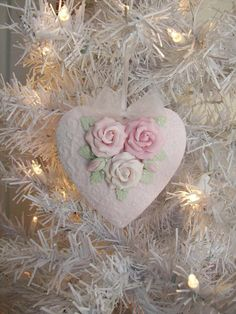 handmade roses on a heart with pearls and a touch of sparkle. I believe the roses, leaves and heart are made from clay. Shabby Chic Ornaments, Shabby Chic Christmas, Victorian Christmas, Handmade Ornaments, Vintage Christmas, Ornament Crafts, Diy Christmas Ornaments, Christmas Decorations, Heart Ornament