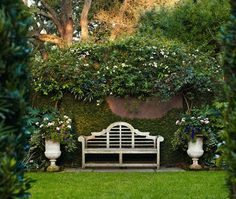 Habitually Chic®: Beginning Over Again with the Summer, love benches in the garden, especially this one.