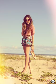 summer outfit: patterned skirt w solid top