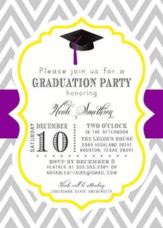 PRINTABLE Graduation Party Senior College Graduation Invitation - Choose your colors!