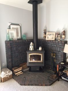 Updated look on a corner wood burning stove / fireplace mantel